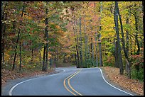 Windy road and fall colors on West Mountain. Hot Springs National Park, Arkansas, USA.