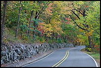 Rood, stone wall, fall colors, West Mountain. Hot Springs National Park, Arkansas, USA. (color)