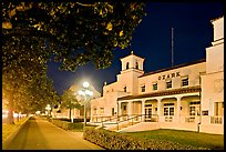 Ozark Baths and Bathhouse Row at night. Hot Springs National Park, Arkansas, USA. (color)