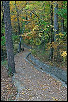 Built trail and fall colors, Hot Spring Mountain. Hot Springs National Park, Arkansas, USA.