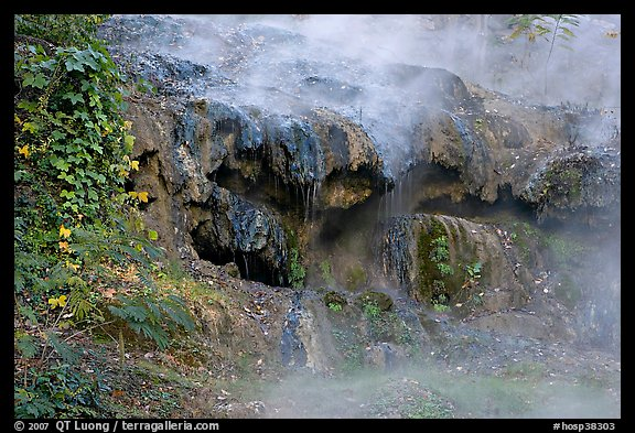 Steam and tufa terrace. Hot Springs National Park, Arkansas, USA.