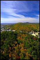 View over tree-covered hills in the fall. Hot Springs National Park, Arkansas, USA.