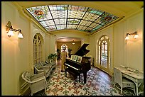 Piano and gallery in assembly room. Hot Springs National Park, Arkansas, USA. (color)