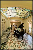 Music room with ceiling of art glass. Hot Springs National Park, Arkansas, USA.