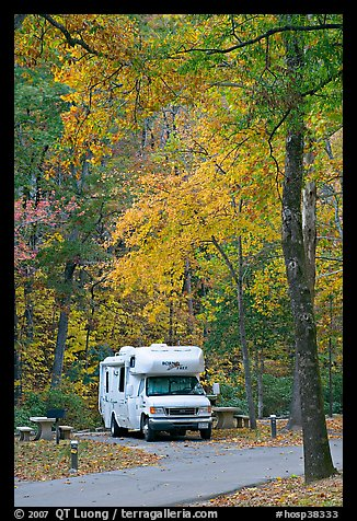 RV in campground with fall colors. Hot Springs National Park (color)