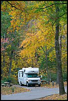 RV in campground with fall colors. Hot Springs National Park, Arkansas, USA.