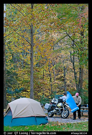 Tent and motorcycle camper under trees in fall colors. Hot Springs National Park (color)