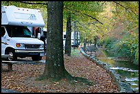RV, trees in fall colors, and stream. Hot Springs National Park, Arkansas, USA. (color)