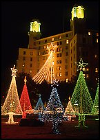 Christmas lights and  Arlington Hotel. Hot Springs, Arkansas, USA