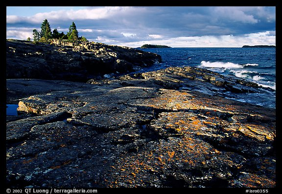 Rock slabs near Scoville point. Isle Royale National Park (color)