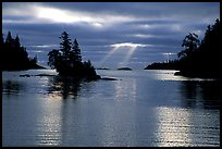 Sunrays and islet,  Chippewa harbor. Isle Royale National Park, Michigan, USA. (color)
