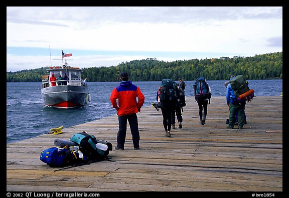 Backpackers waiting for pick-up by the ferry at Windego. Isle Royale National Park (color)