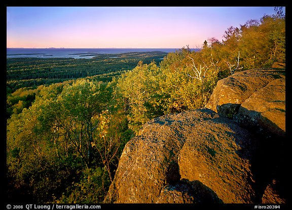Mount Franklin outcrop, trees, and Lake Superior in the distance. Isle Royale National Park (color)