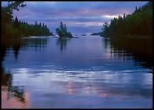 Islet in Chippewa Harbor at sunrise. Isle Royale National Park, Michigan, USA.