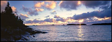 Lake Superior cloudy sunrise. Isle Royale National Park (Panoramic color)