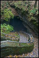 Steps and railing leading down to historical cave entrance. Mammoth Cave National Park, Kentucky, USA. (color)