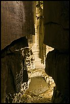 Shaft and pool inside cave. Mammoth Cave National Park, Kentucky, USA. (color)