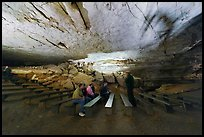 Talk in large room inside cave. Mammoth Cave National Park, Kentucky, USA. (color)
