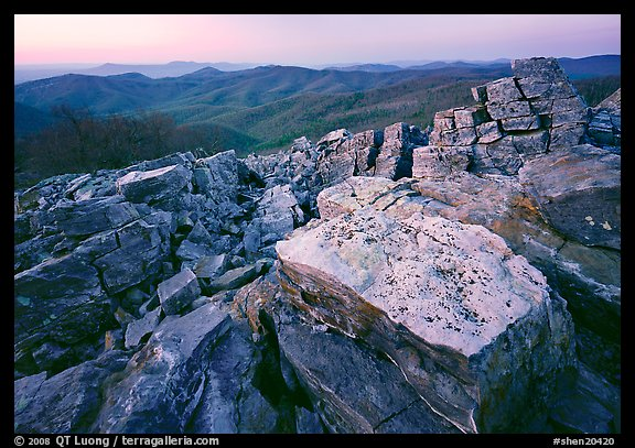 Rectangular rocks at dusk, Black Rock. Shenandoah National Park (color)