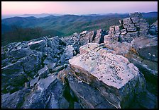 Rectangular rocks at dusk, Black Rock. Shenandoah National Park, Virginia, USA.