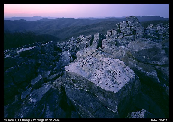 Rock slabs, Black Rock, dusk. Shenandoah National Park (color)