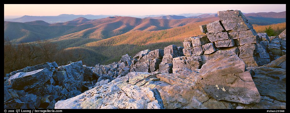 Appalachian landscape with rocks and hills. Shenandoah National Park (color)