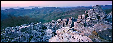 Rock slabs and forested hills at dusk. Shenandoah National Park (Panoramic color)