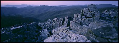 Eastern mountain landscape at dusk. Shenandoah National Park (Panoramic color)
