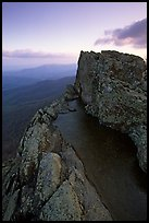 Rainwater pool, Little Stony Man, sunrise. Shenandoah National Park, Virginia, USA. (color)