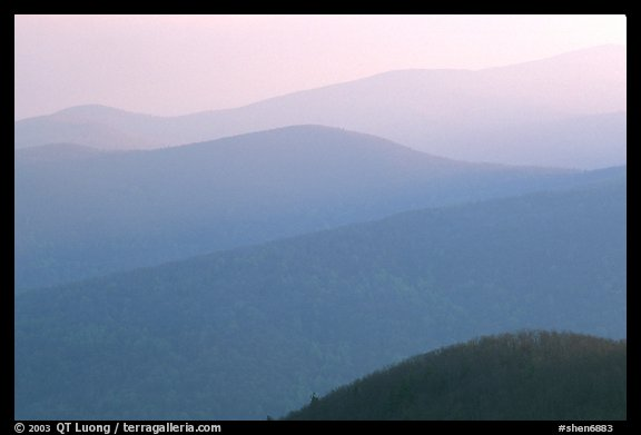 Hazy ridges, sunrise. Shenandoah National Park, Virginia, USA.