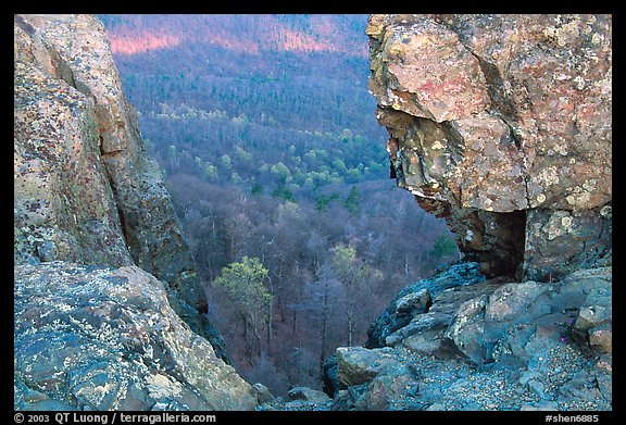 Forested slopes seen through a rock window, Little Stony Man. Shenandoah National Park (color)
