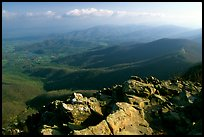 Panorama from Little Stony Man, early morning. Shenandoah National Park, Virginia, USA. (color)