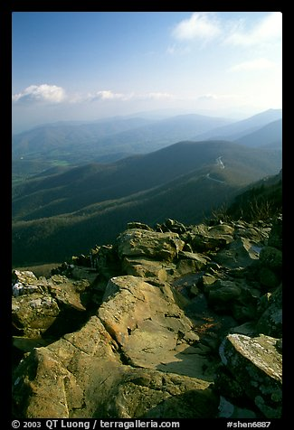 View over hills and crest from Little Stony Man, early morning. Shenandoah National Park (color)