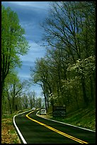 Skyline drive with cars and Park entrance sign. Shenandoah National Park, Virginia, USA. (color)