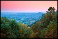 Looking west towards farmlands at sunset. Shenandoah National Park, Virginia, USA.