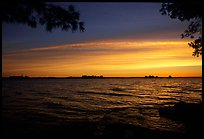 Sunrise, Kabetogama lake near Woodenfrog. Voyageurs National Park, Minnesota, USA. (color)