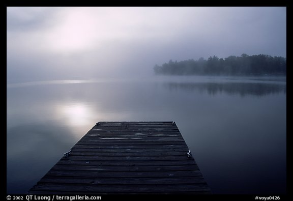 Dock and morning fog, Kabetogama lake near Woodenfrog. Voyageurs National Park, Minnesota, USA.