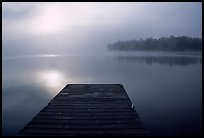 Dock and morning fog, Kabetogama lake near Woodenfrog. Voyageurs National Park, Minnesota, USA. (color)