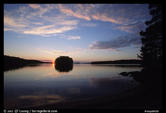 Sunset on island on Kabetogama lake near Ash river. Voyageurs National Park (color)