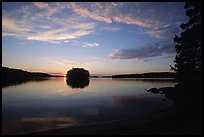 Sunset on island on Kabetogama lake near Ash river. Voyageurs National Park, Minnesota, USA. (color)