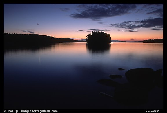 Sunset with moon on island on Kabetogama Lake near Ash river. Voyageurs National Park (color)