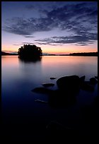 Sunset on islet on Kabetogama Lake near Ash river. Voyageurs National Park, Minnesota, USA.
