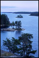 Islets and conifers, Anderson bay. Voyageurs National Park, Minnesota, USA. (color)