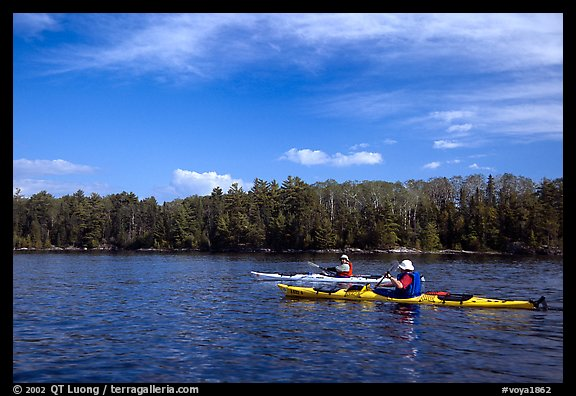 Modern Voyageurs in kayaks. Voyageurs National Park (color)