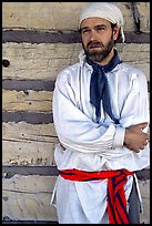 Park staff wearing white period outfit similar to that worn by  Voyageurs. Voyageurs National Park, Minnesota, USA. (color)