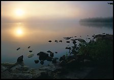 Sunrise and morning fog, Kabetogama lake near Woodenfrog. Voyageurs National Park, Minnesota, USA.