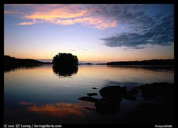 Kabetogama lake sunset with tree-covered islet. Voyageurs National Park (color)