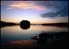 Kabetogama lake sunset with tree-covered islet. Voyageurs National Park, Minnesota, USA.