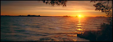 Sunrise over lake. Voyageurs National Park (Panoramic color)