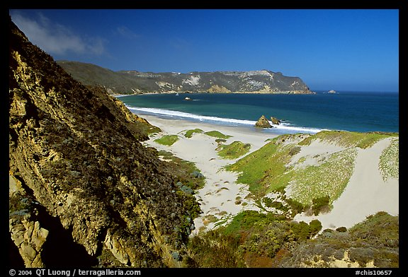 Dunes and Cuyler Harbor, mid-day, San Miguel Island. Channel Islands National Park (color)
